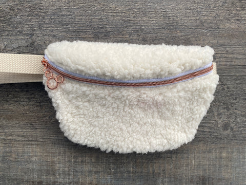 Rose Gold Faux Sherpa Fanny Pack