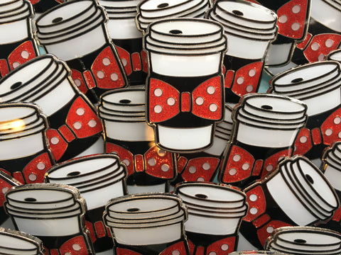Rock the Dots Bow Coffee Cozy Pin
