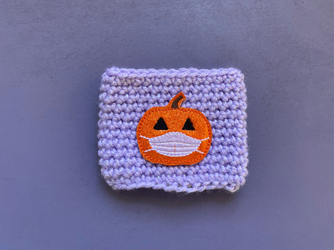 Ready to Ship Masked Pumpkin Coffee Cozy