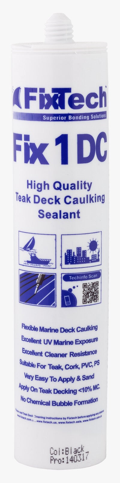 Fix1DCBKL03 Teak Deck Caulking, Col: Black (300mL)-Singles