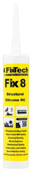 Fix8FNALL03 Finishing Adhesive Silicone RTV-1, Col: Aluminum (300mL) - Singles