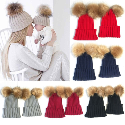 2PC Mom And Baby Kids Double Ball Winter Beanie Hat Cap Wool Knit baby winter hat