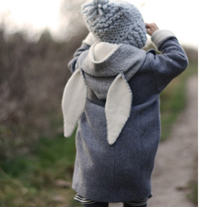 Baby Girls Clothing Children Autumn Jacket Kids Hooded Rabbit Ear Coat  for Girls Clothes New Fashion MU833003