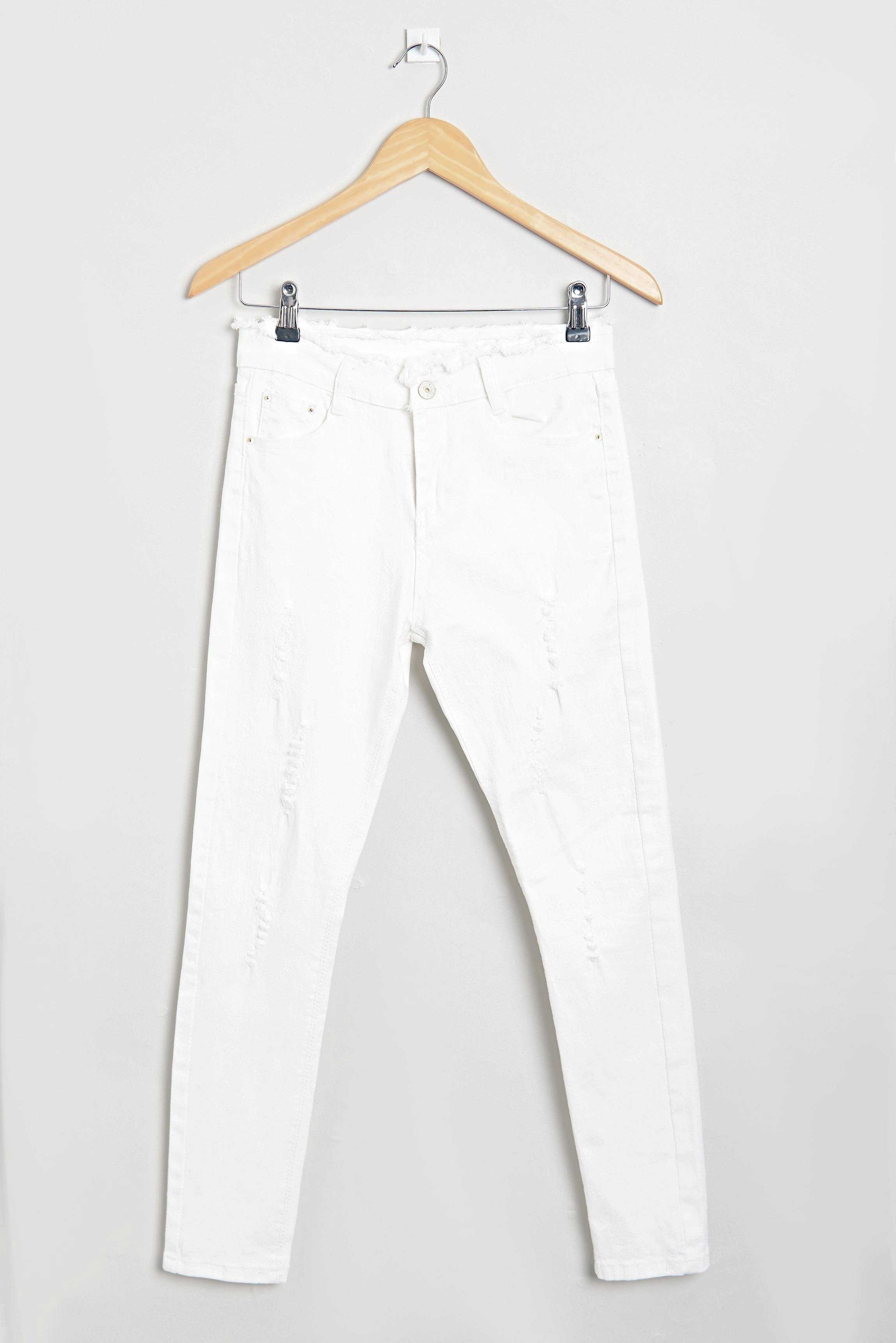 Basic Denims White | Raw Orange