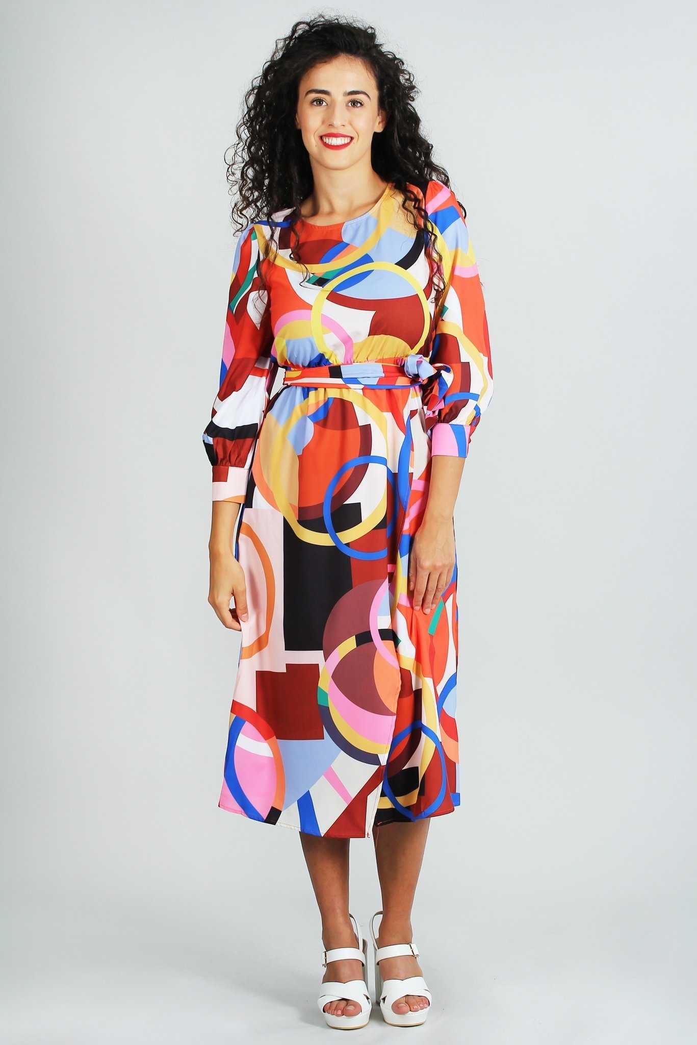 Cara Multicolored Dress | Raw Orange