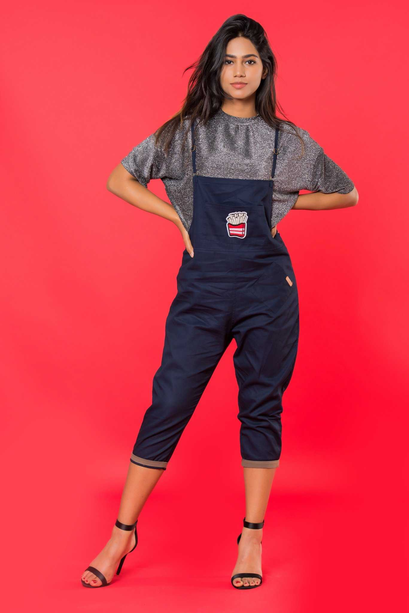 Blue Dungarees | Raw Orange