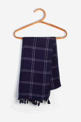 Striped Scarf - Dark Blue | Raw Orange