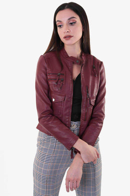 Biker Leather Jacket -Sangria Brown