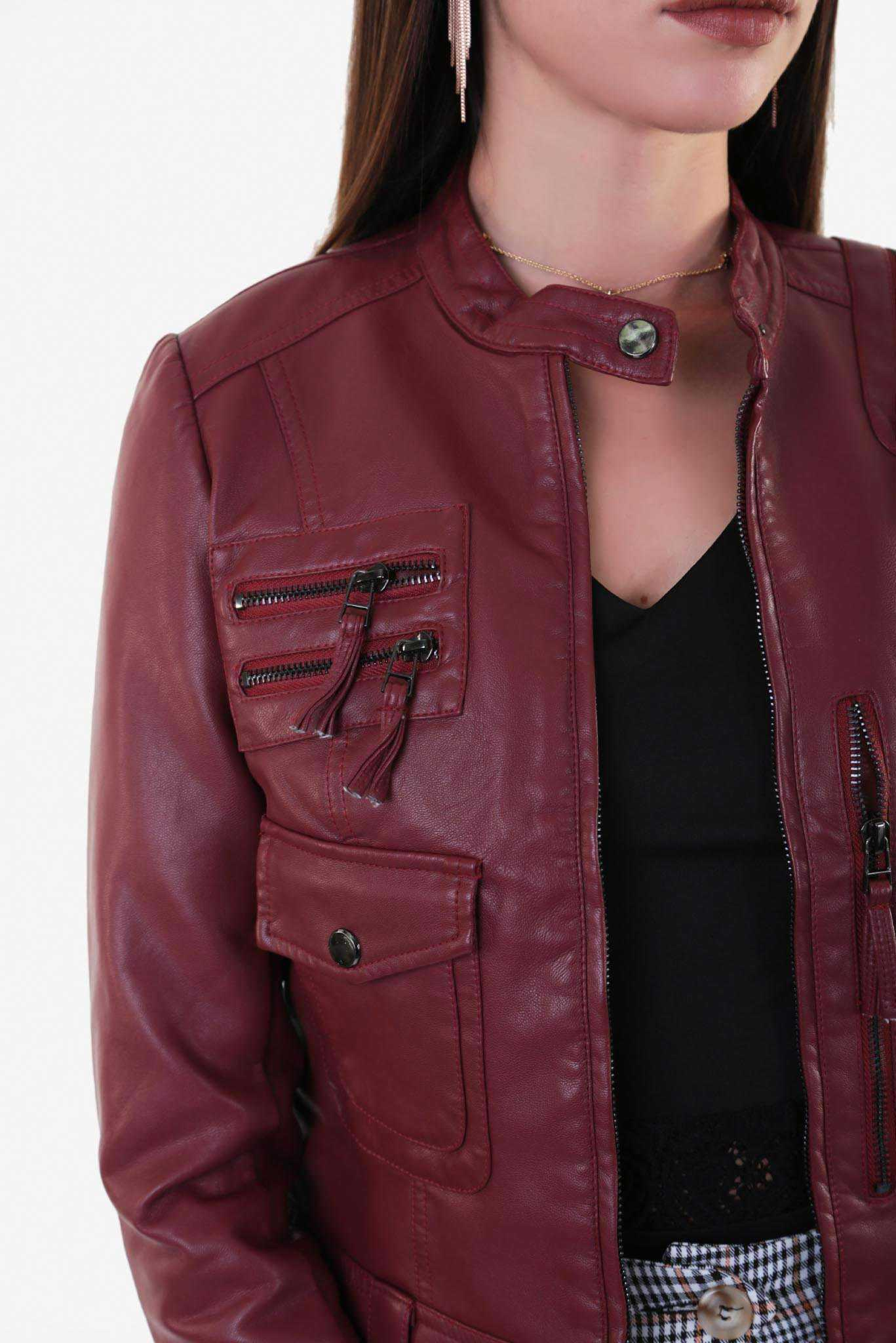 Biker Leather Jacket -Sangria Brown | Raw Orange