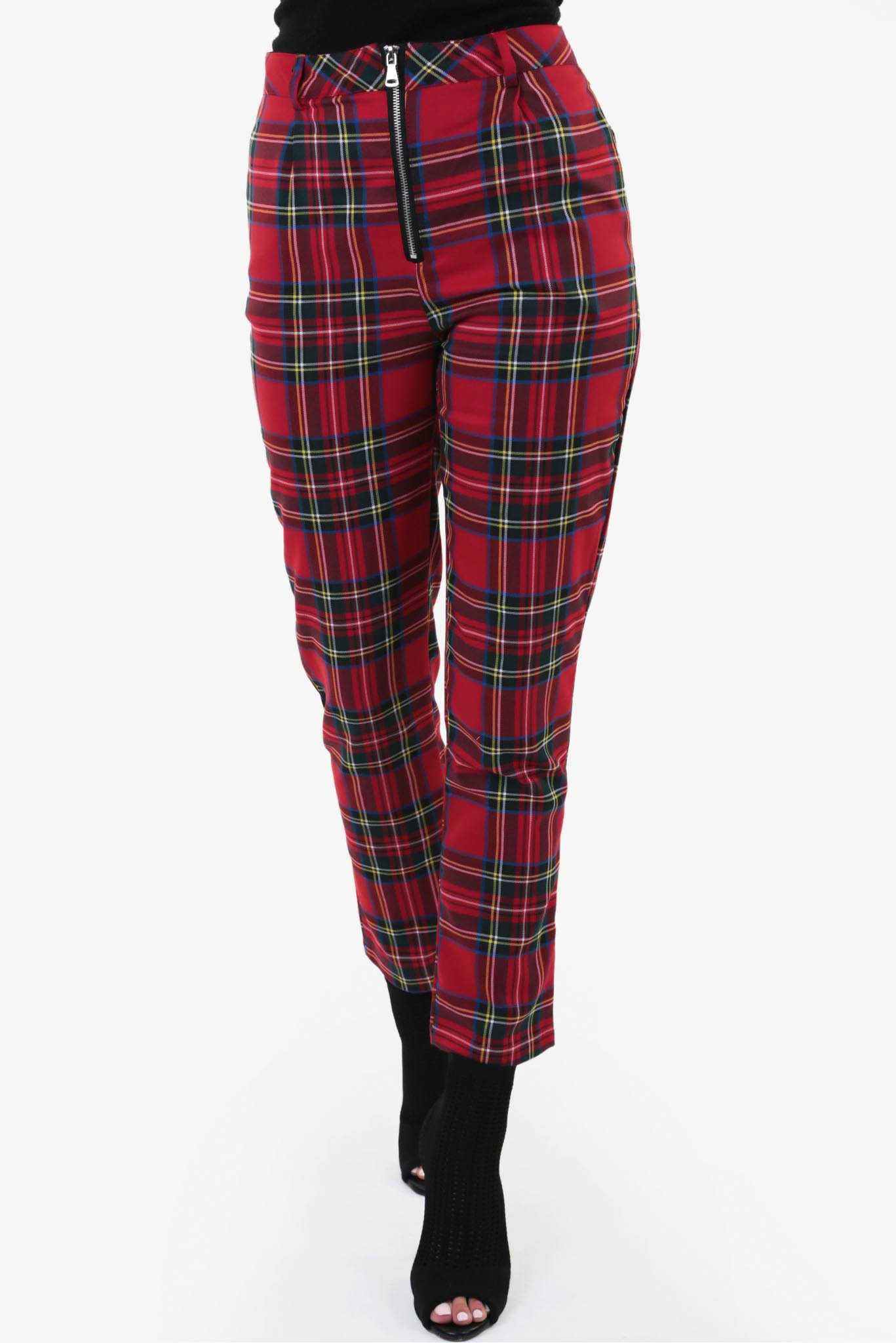 Tartan Check Pants - Red | Raw Orange