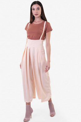 Wide Leg High Waist Dungaree - Nude | Raw Orange