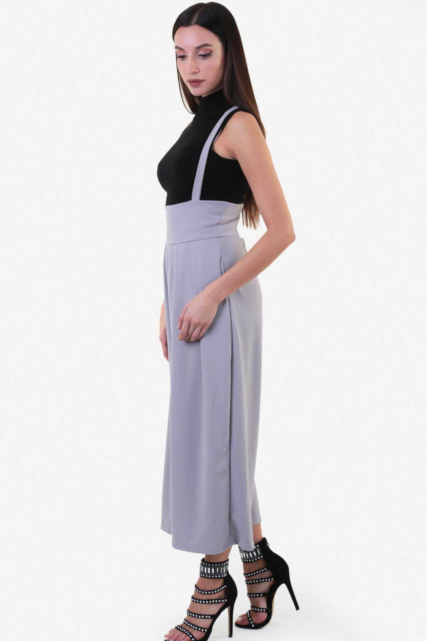 Wide Leg High Waist Dungaree - Grey | Raw Orange