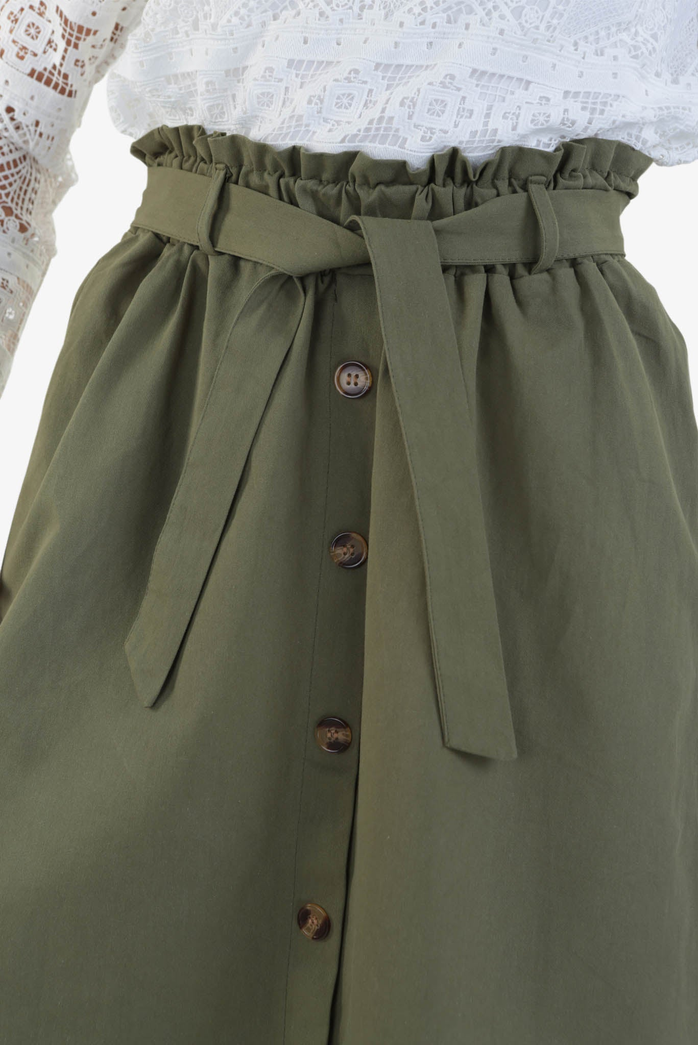 Midi Skirt - Green | Raw Orange
