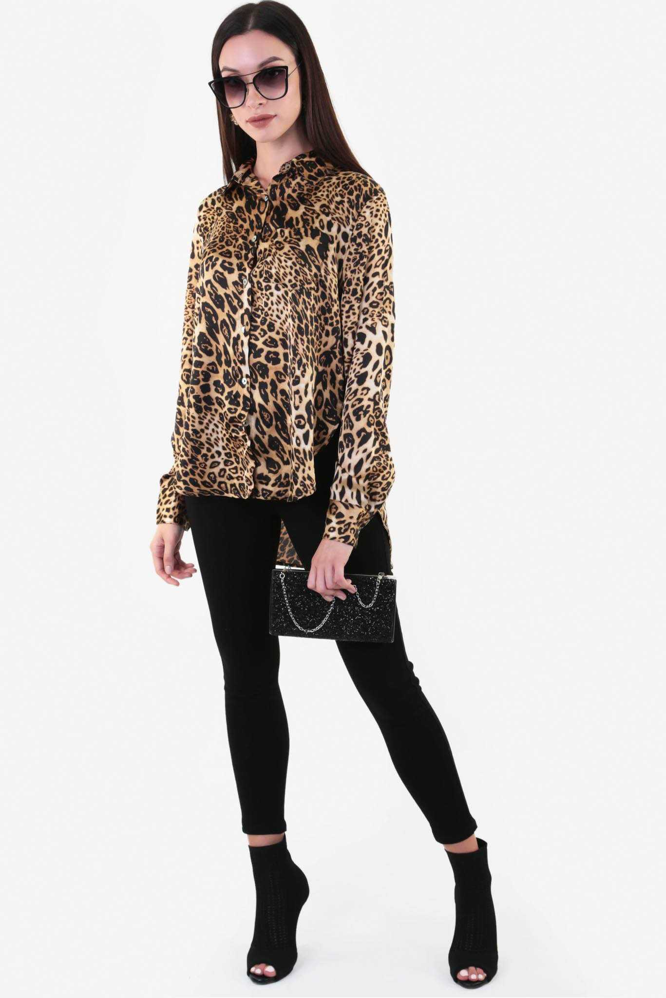 Oversize Blouse - Leopard Print | Raw Orange