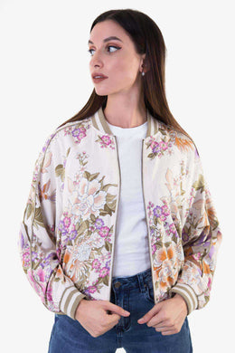 Bomber Jacket - Floral | Raw Orange