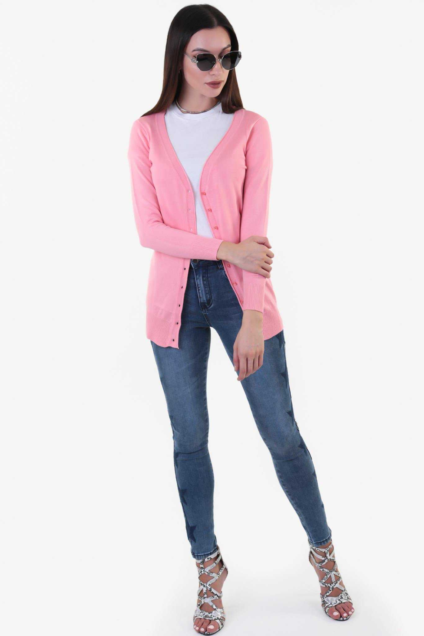 Long  Cardigan - Pink | Raw Orange