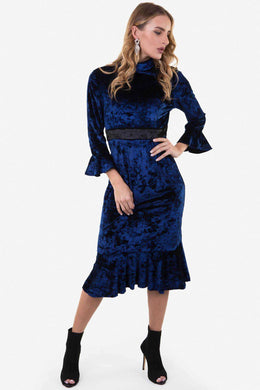 Midi Velvet Dress - Blue | Raw Orange