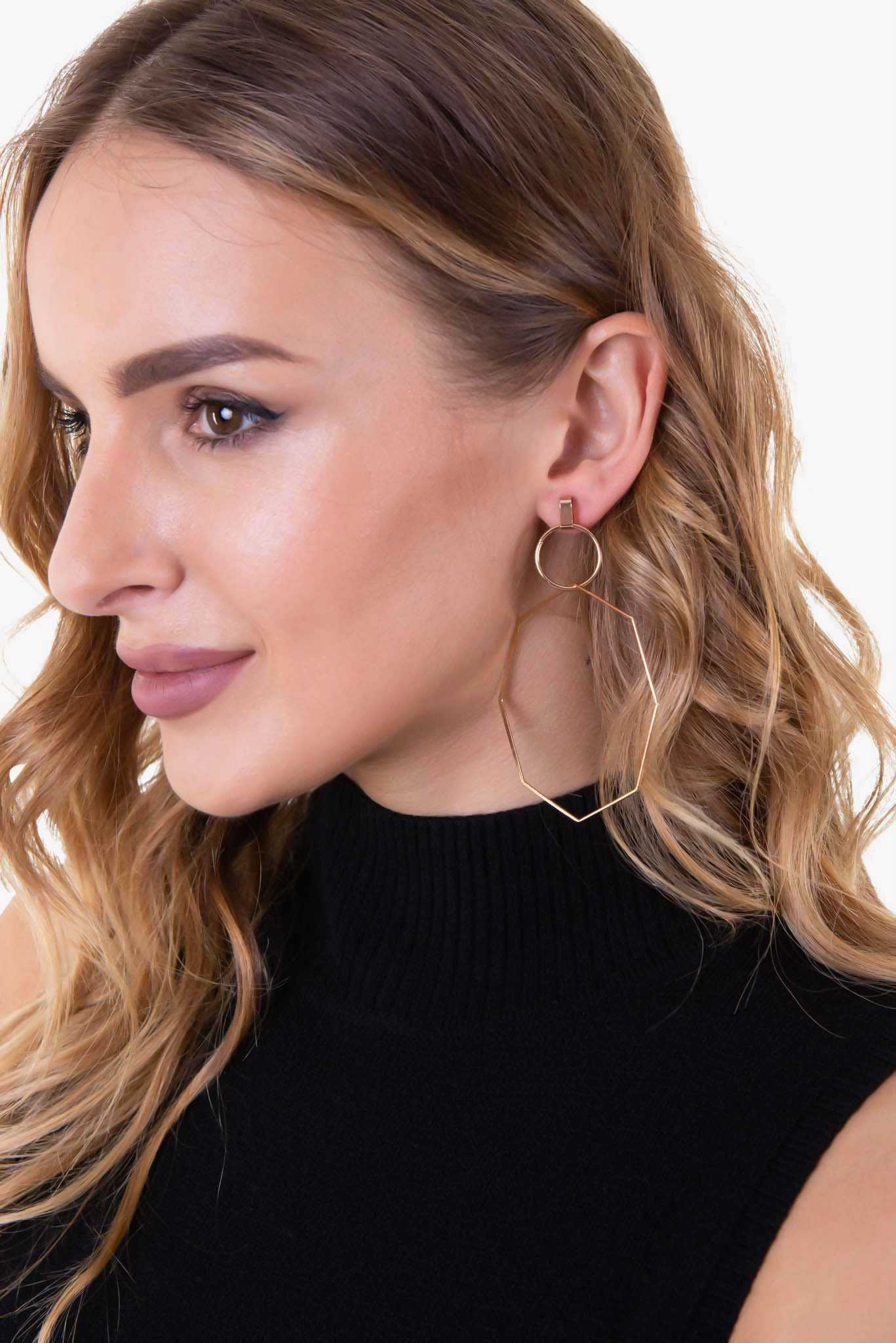 Interlocking Hoop Earrings - Gold | Raw Orange