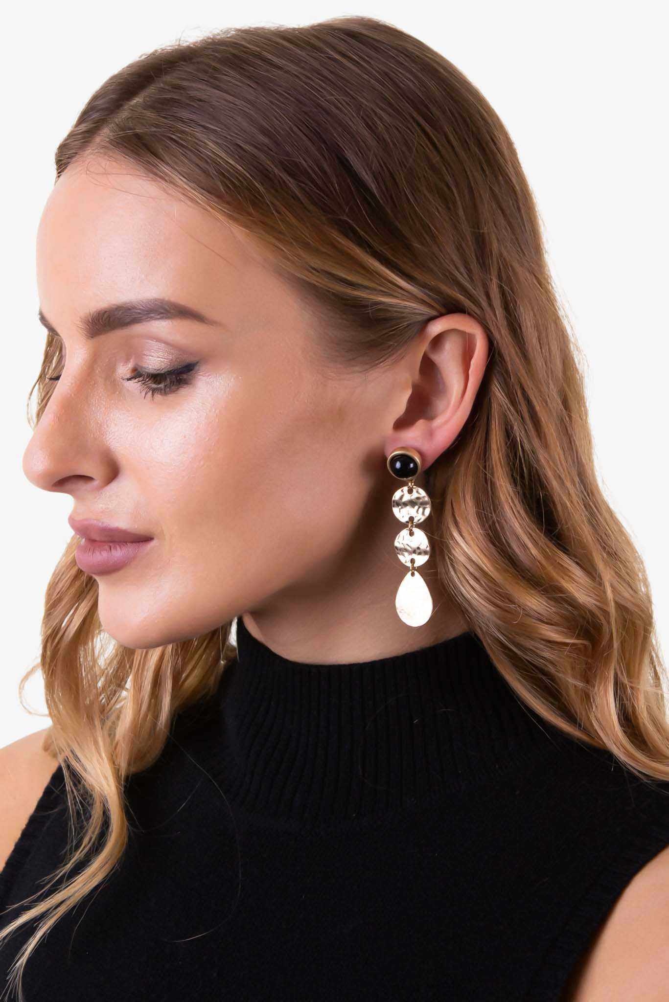 Tiered Earring with Black Stud | Raw Orange