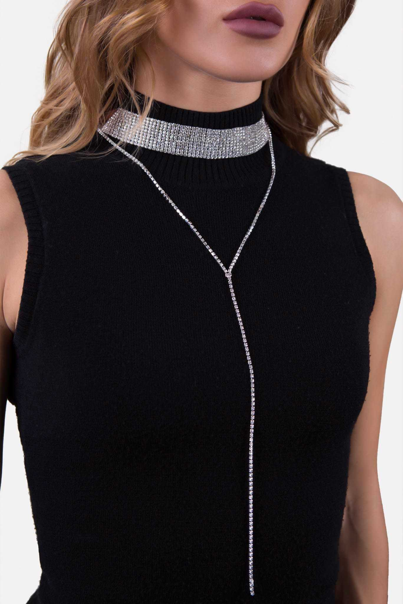 Tiered Choker Dropchain Silver