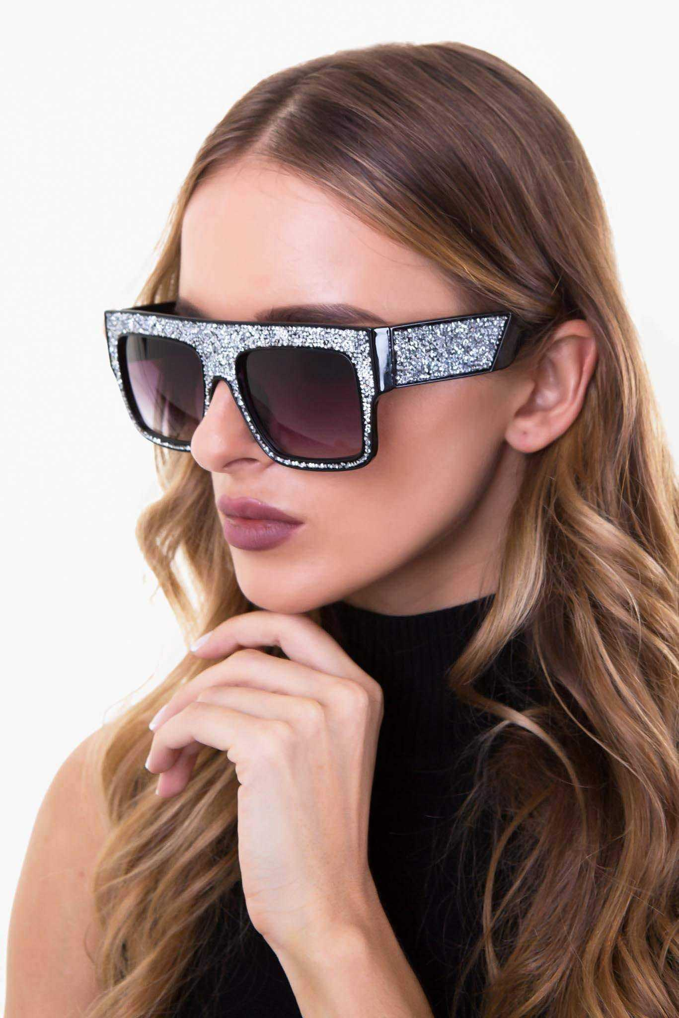 Rhinestone Sunglasses | Raw Orange