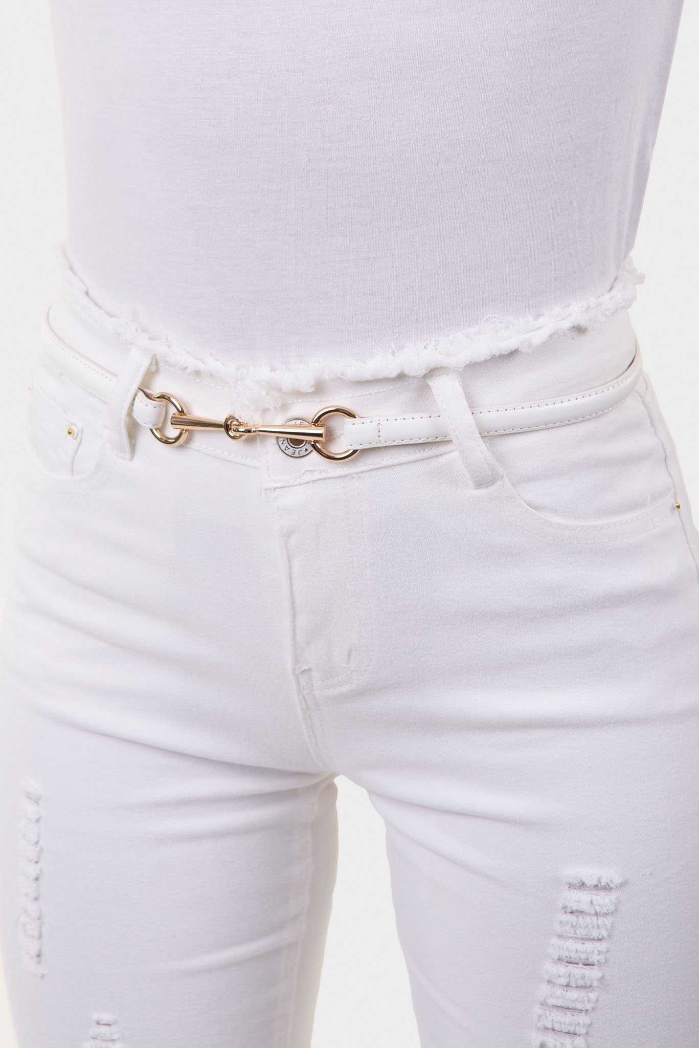Skinny Hook Belt - White