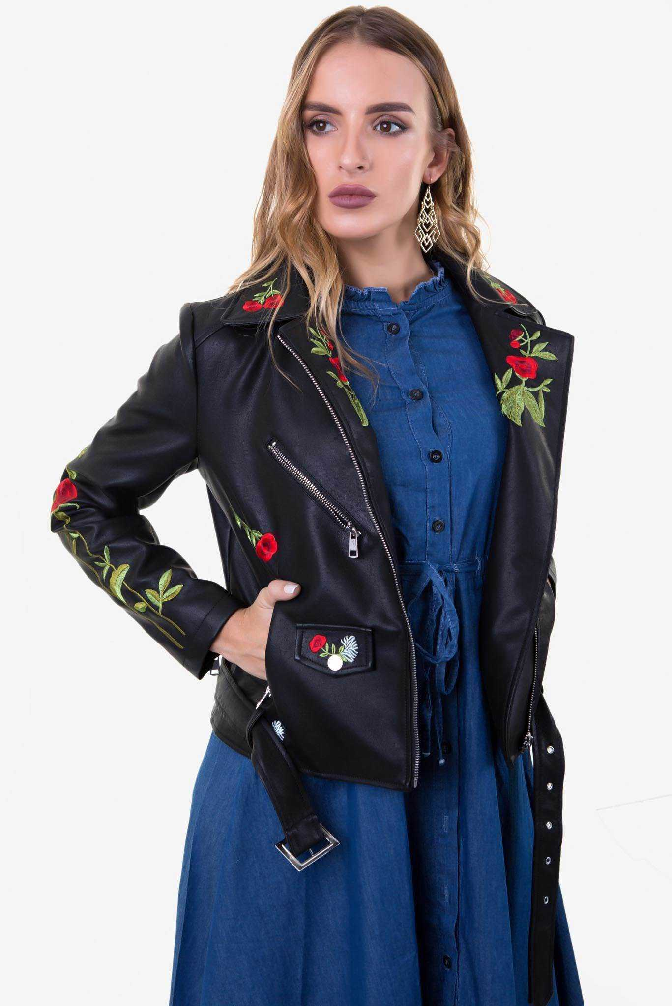 Leather Jacket - Black with Red Floral | Raw Orange
