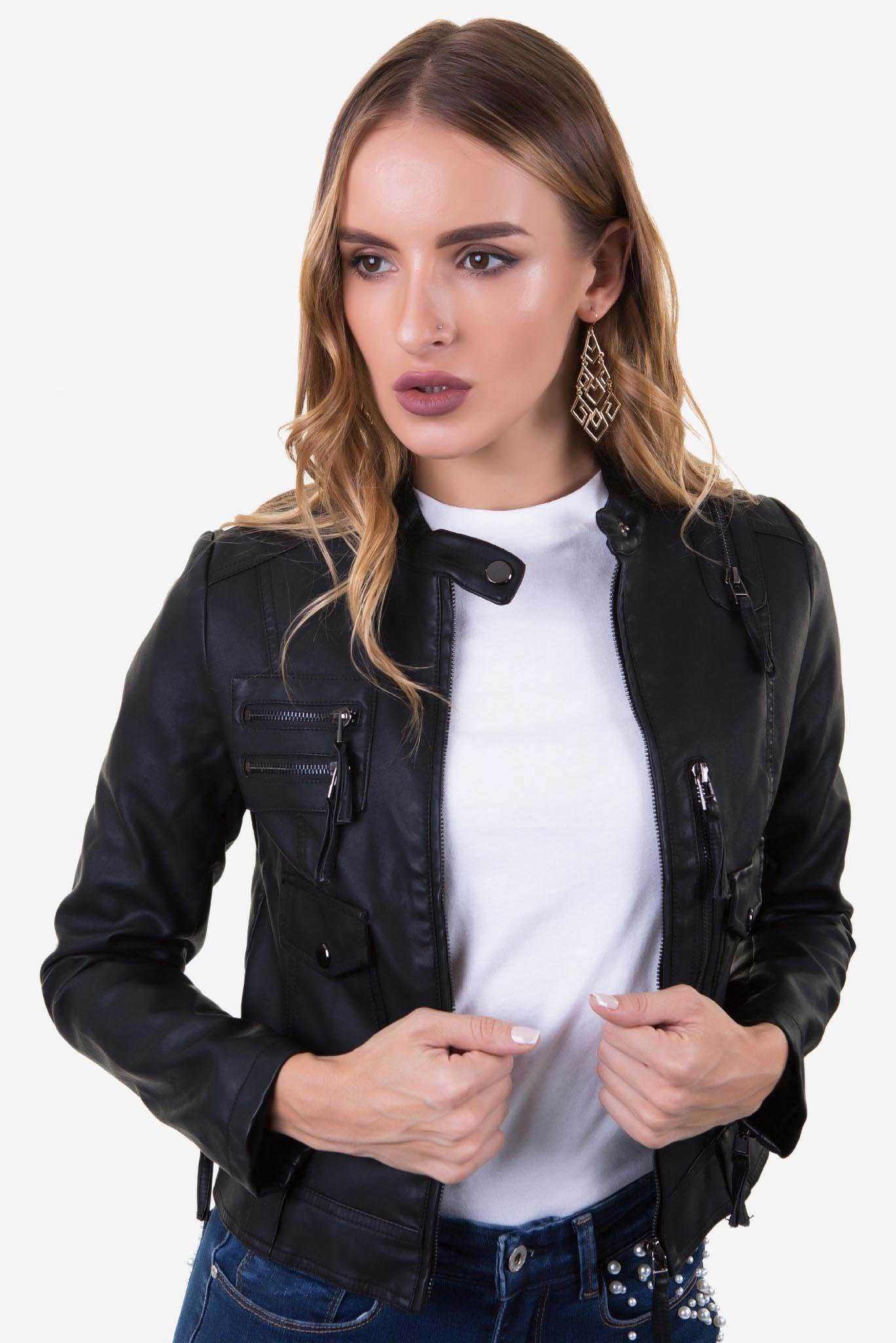 Biker Leather Jacket - Black | Raw Orange