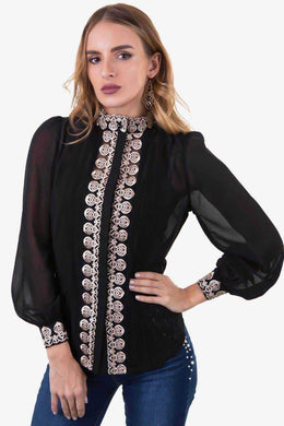 Embroided Top - Black