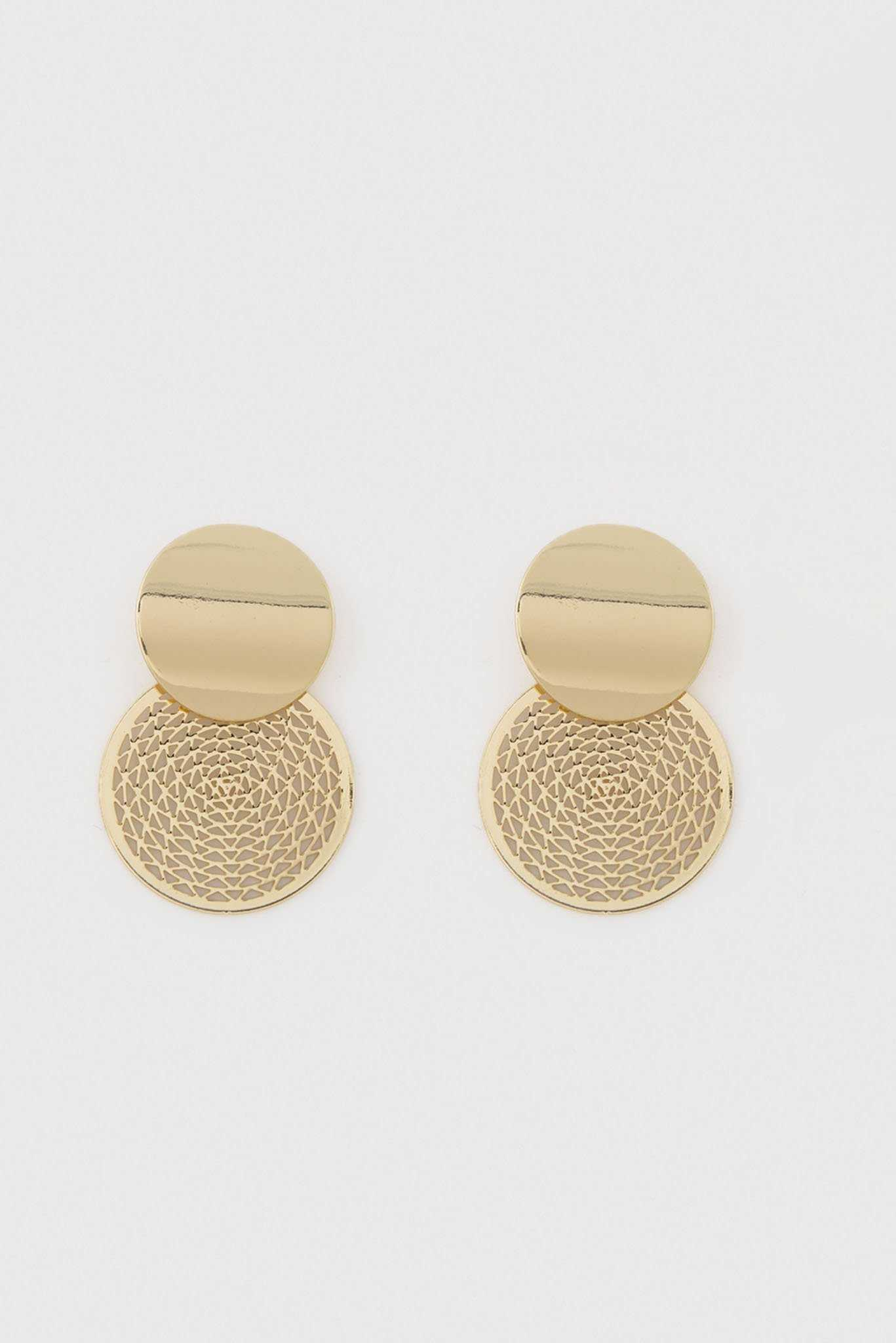 Tiered Round Earrings - Gold | Raw Orange