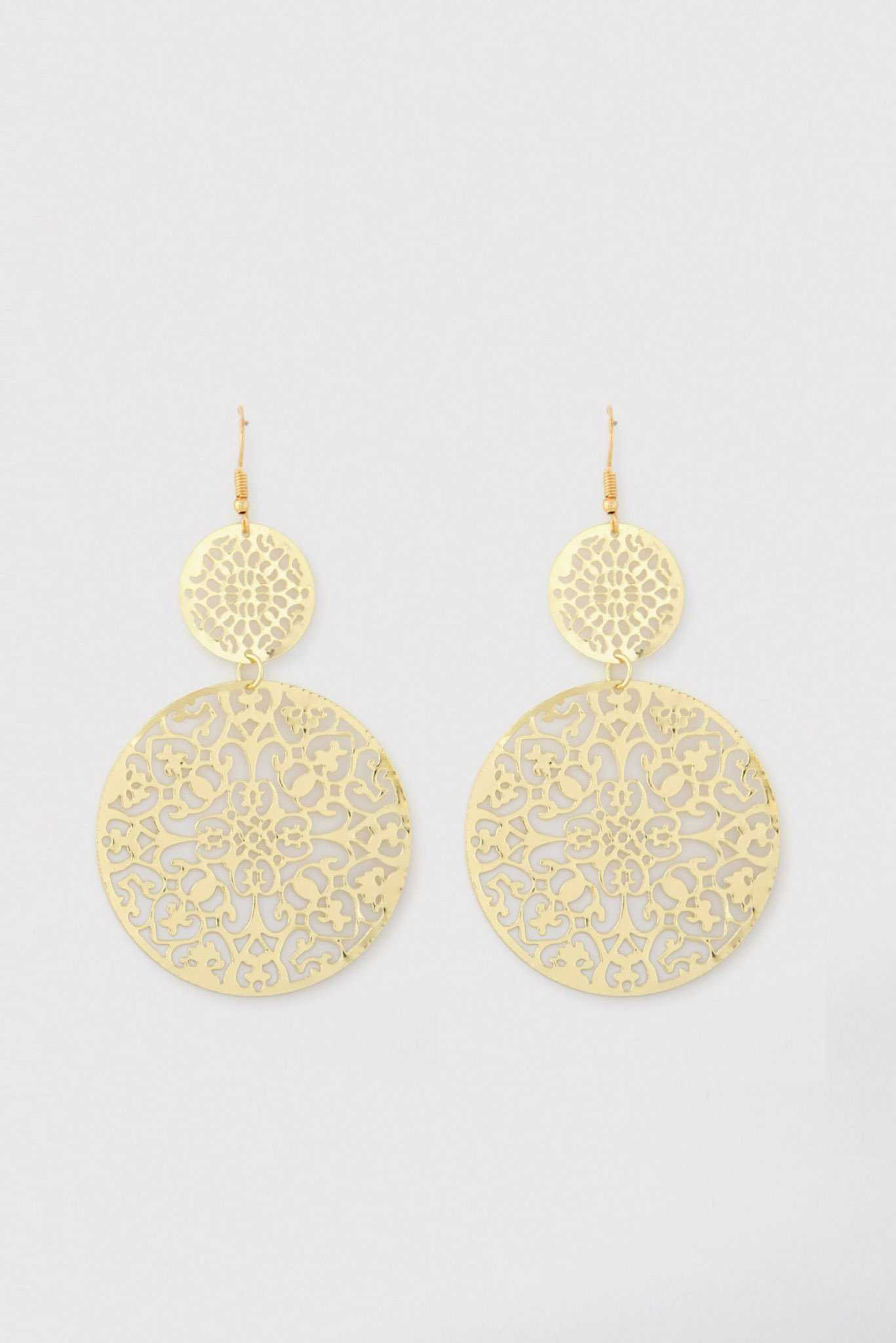 Filigree Round Drop Earrings | Raw Orange