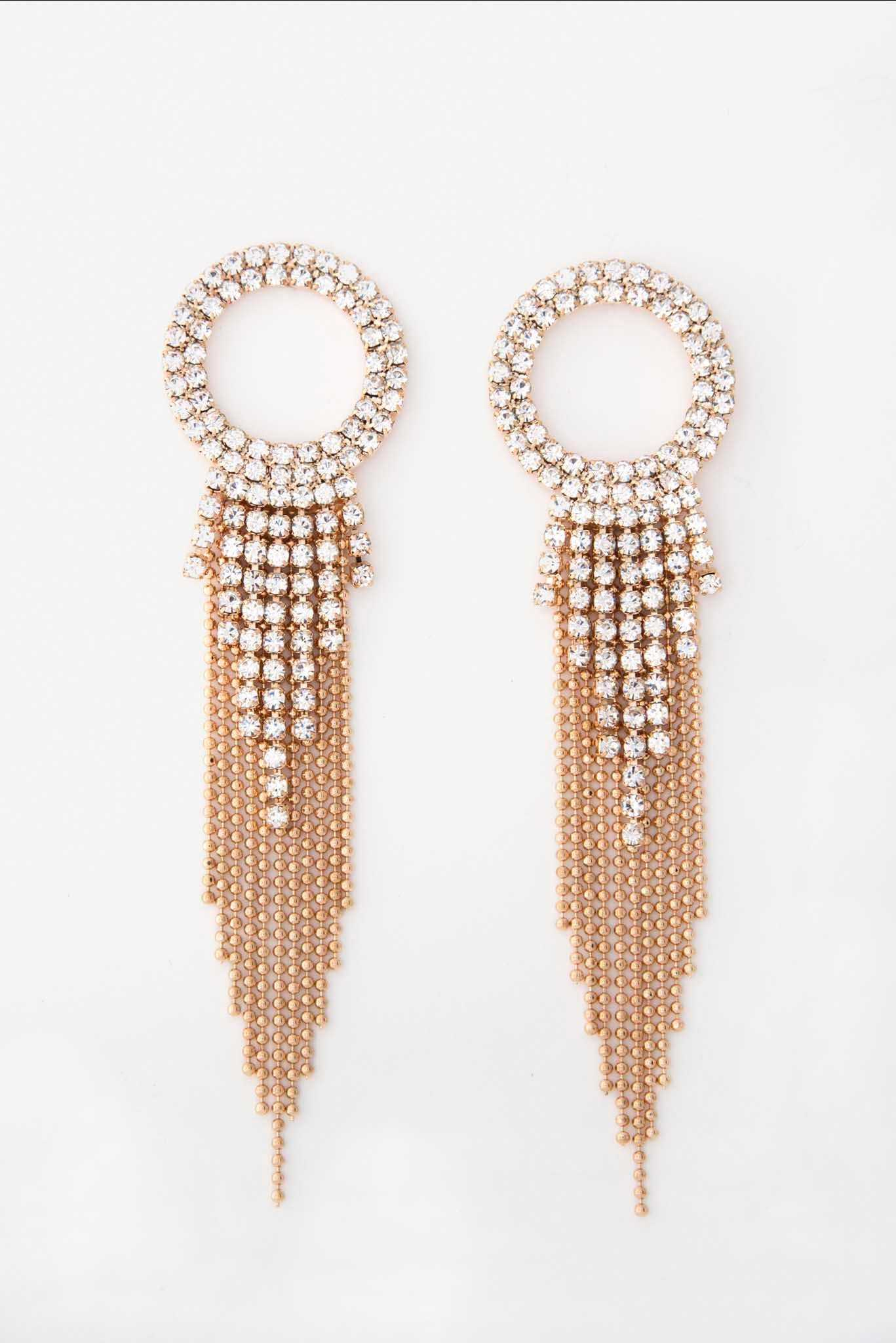 Rhinestone Duster Earrings | Raw Orange