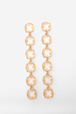 Faux Gem Duster Earrings | Raw Orange