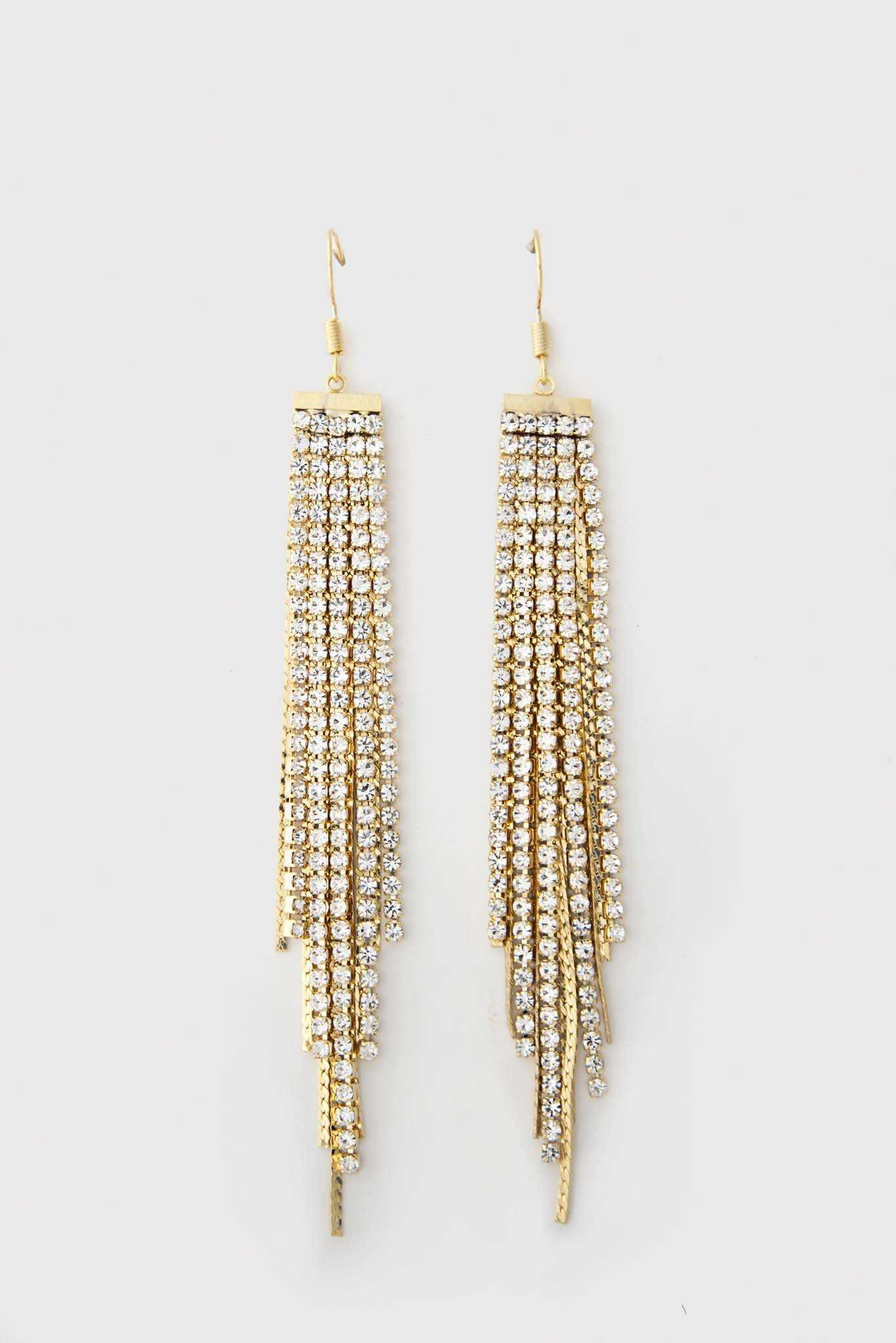 Rhinestone Chandelier Earrings | Raw Orange