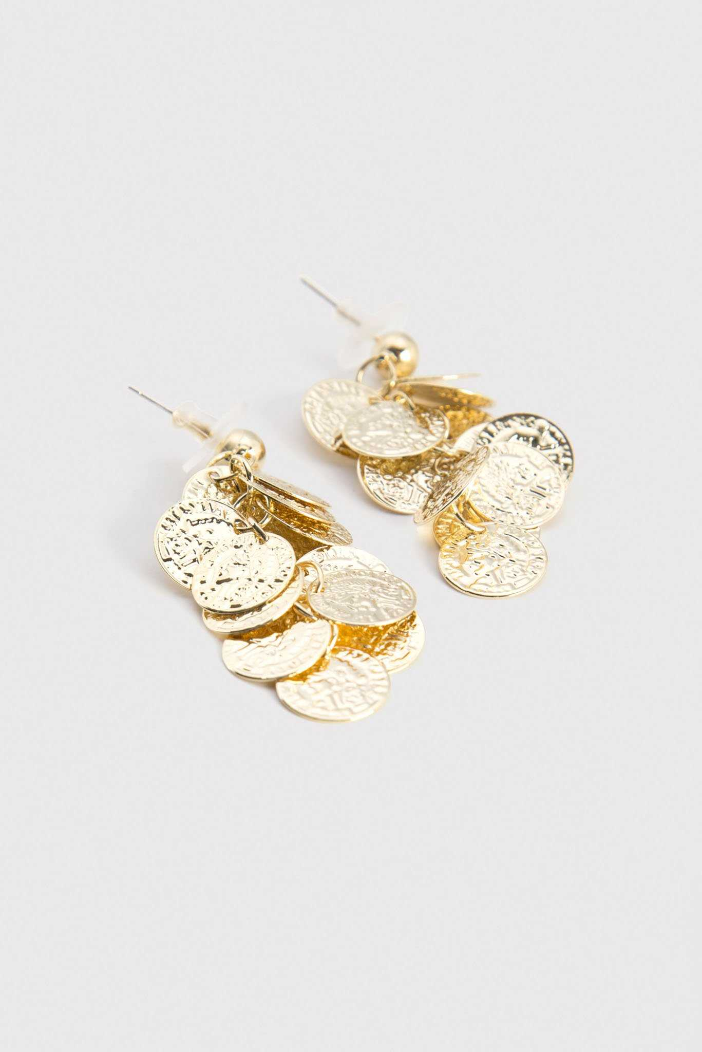 Hammered Circles Drop Earrings | Raw Orange