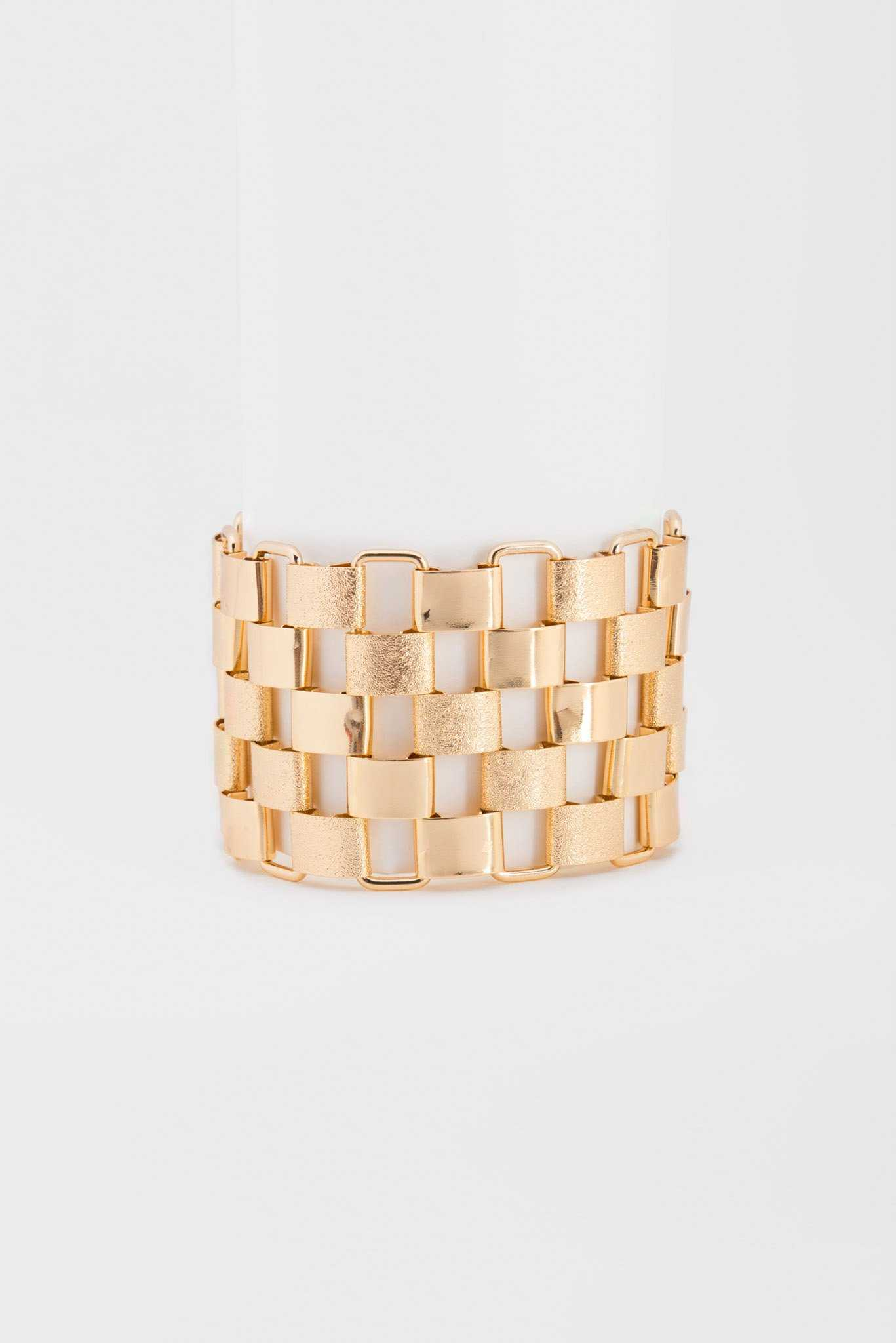 Square Chunky Bracelet - Gold | Raw Orange