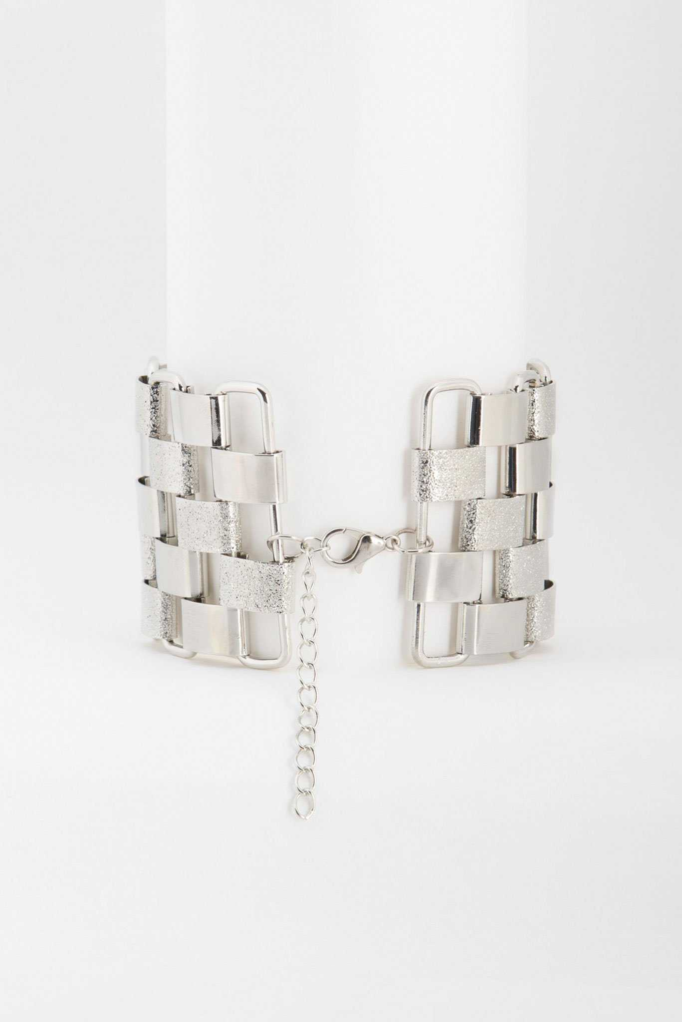 Square Chunky Bracelet - Silver | Raw Orange