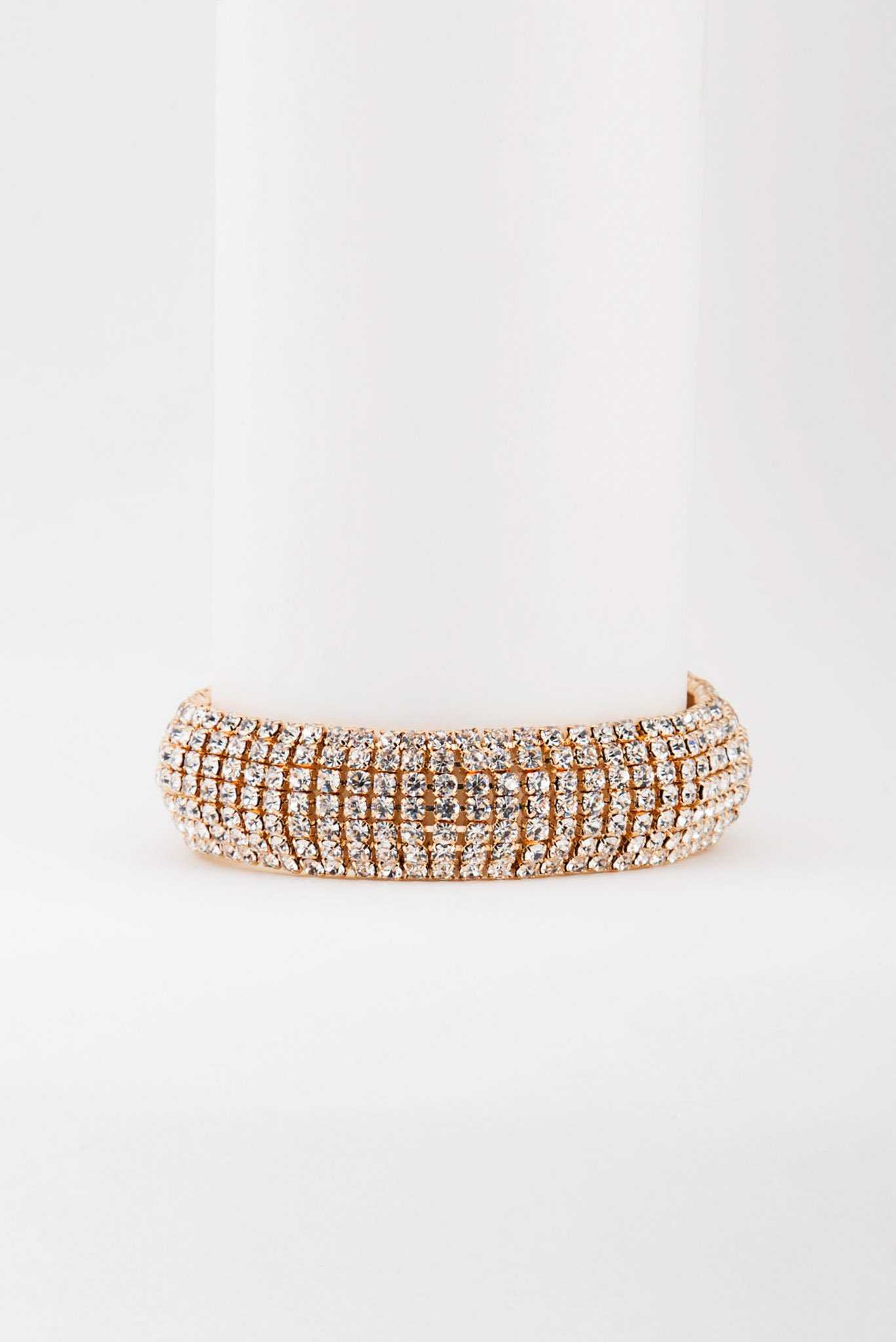 Rhinestone Stretch Bracelet | Raw Orange