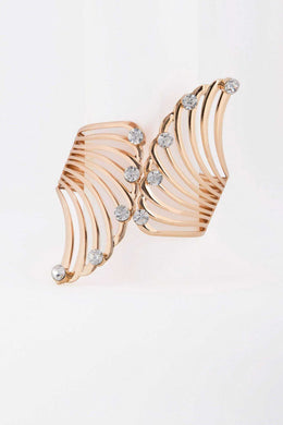 Rhinestone Edges - Gold Bracelet | Raw Orange