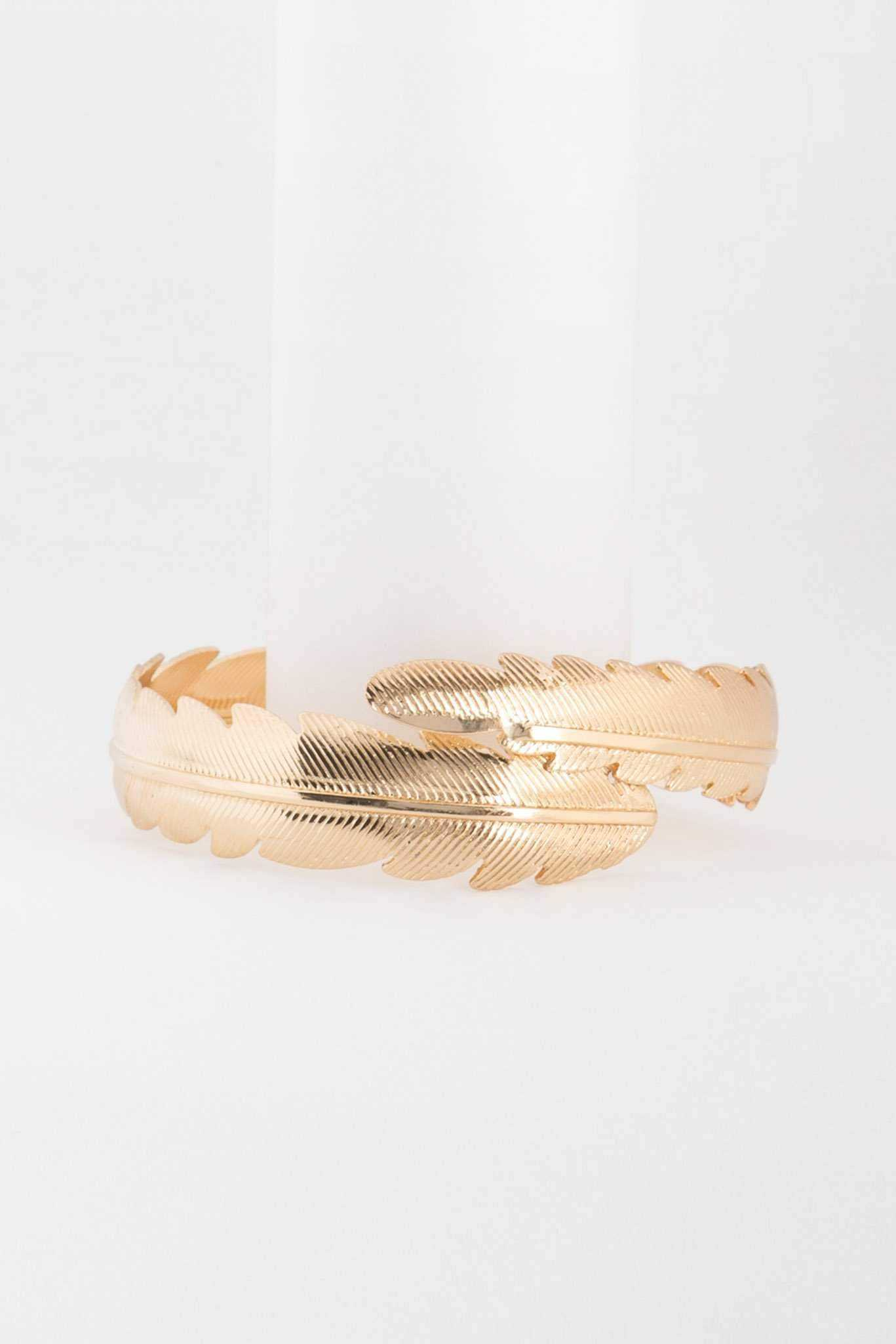 Leaf Cuff Bracelet - Gold | Raw Orange