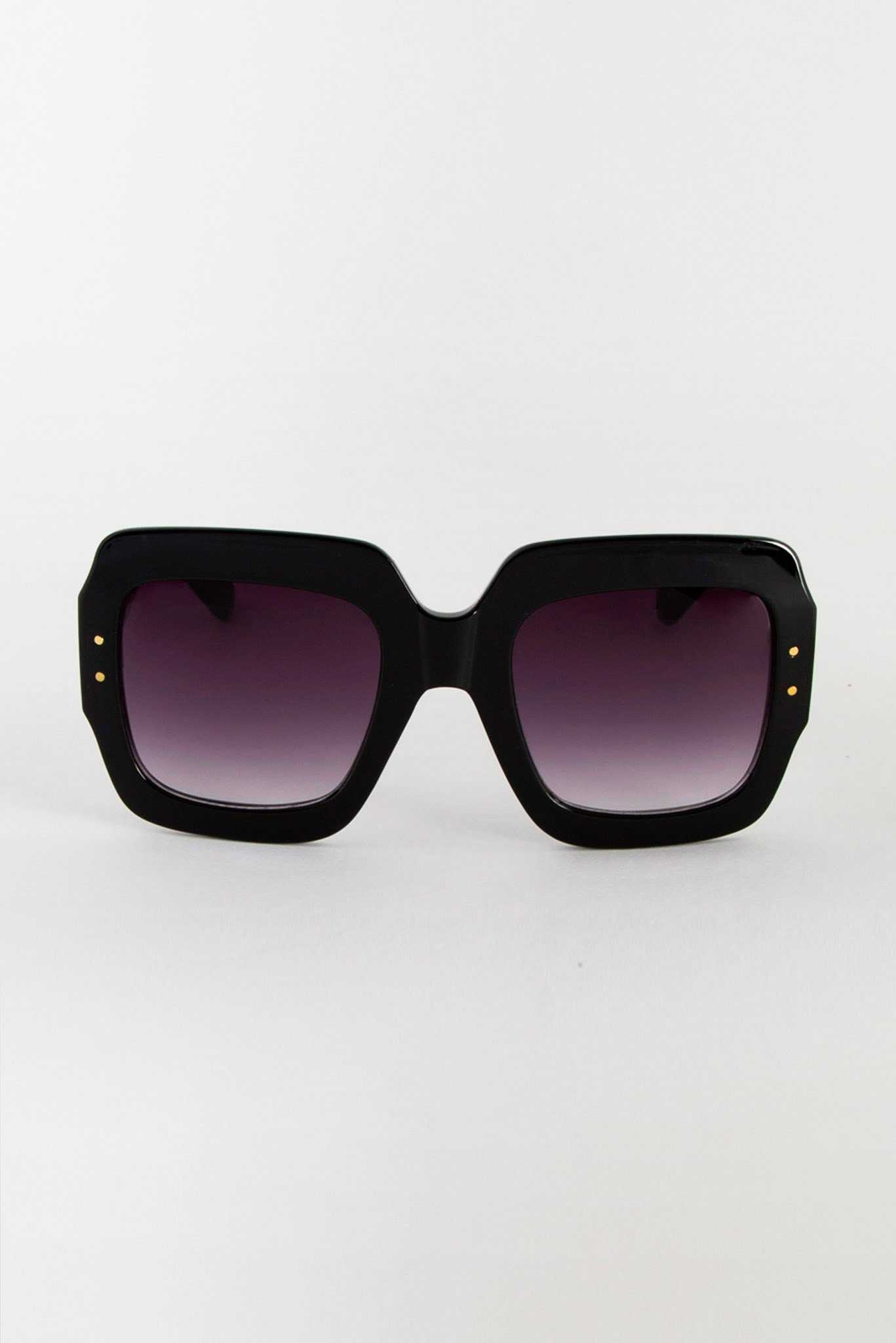 Black Frame Square Sunglasses | Raw Orange