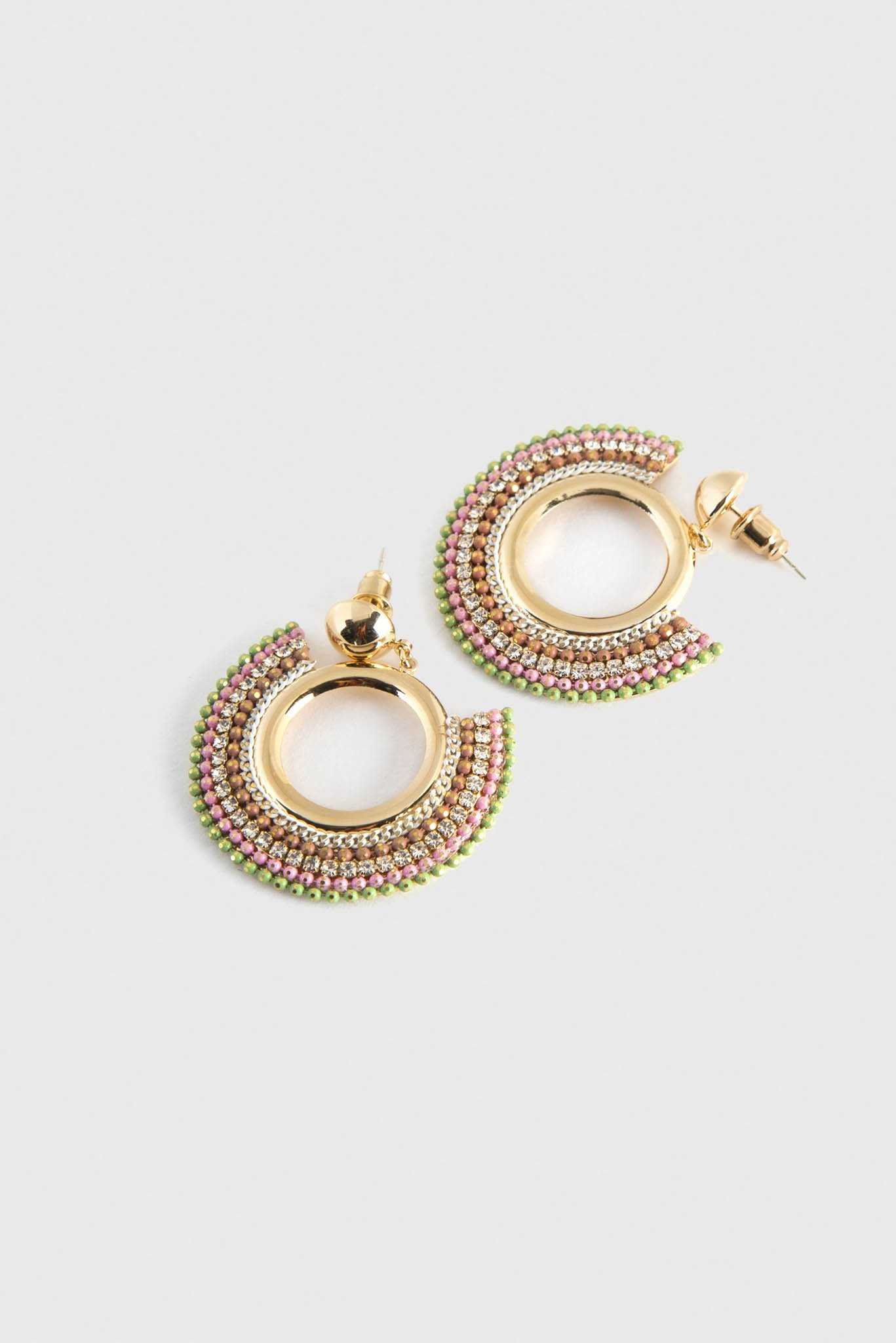 Embellished Hoop Earrings | Raw Orange
