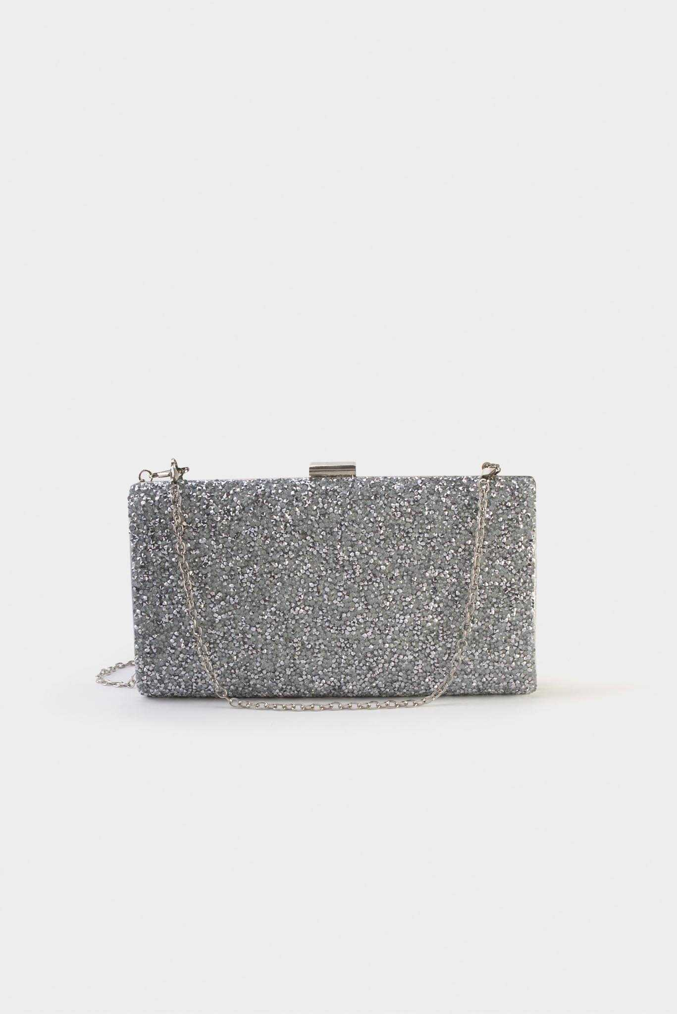 Glamorous Clutch - Silver | Raw Orange