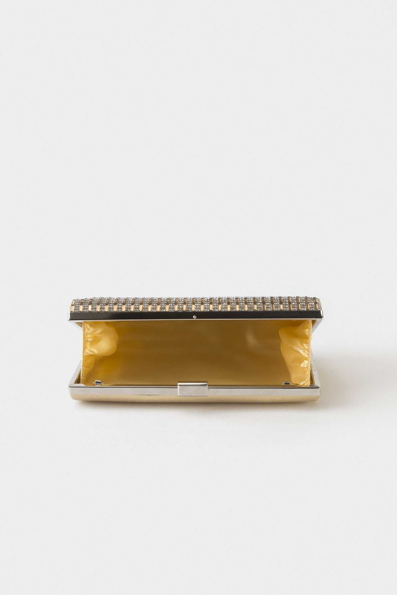 Rhinestone Clutch - Gold | Raw Orange