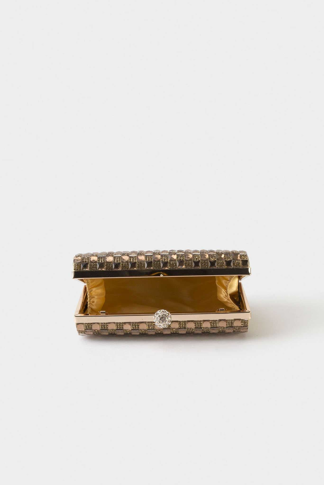 Embellished Clutch - Gold | Raw Orange