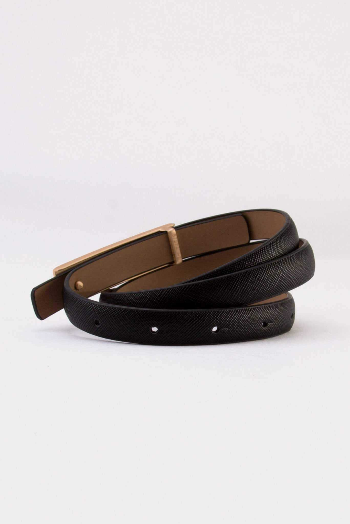 Narrow Belt - Black | Raw Orange