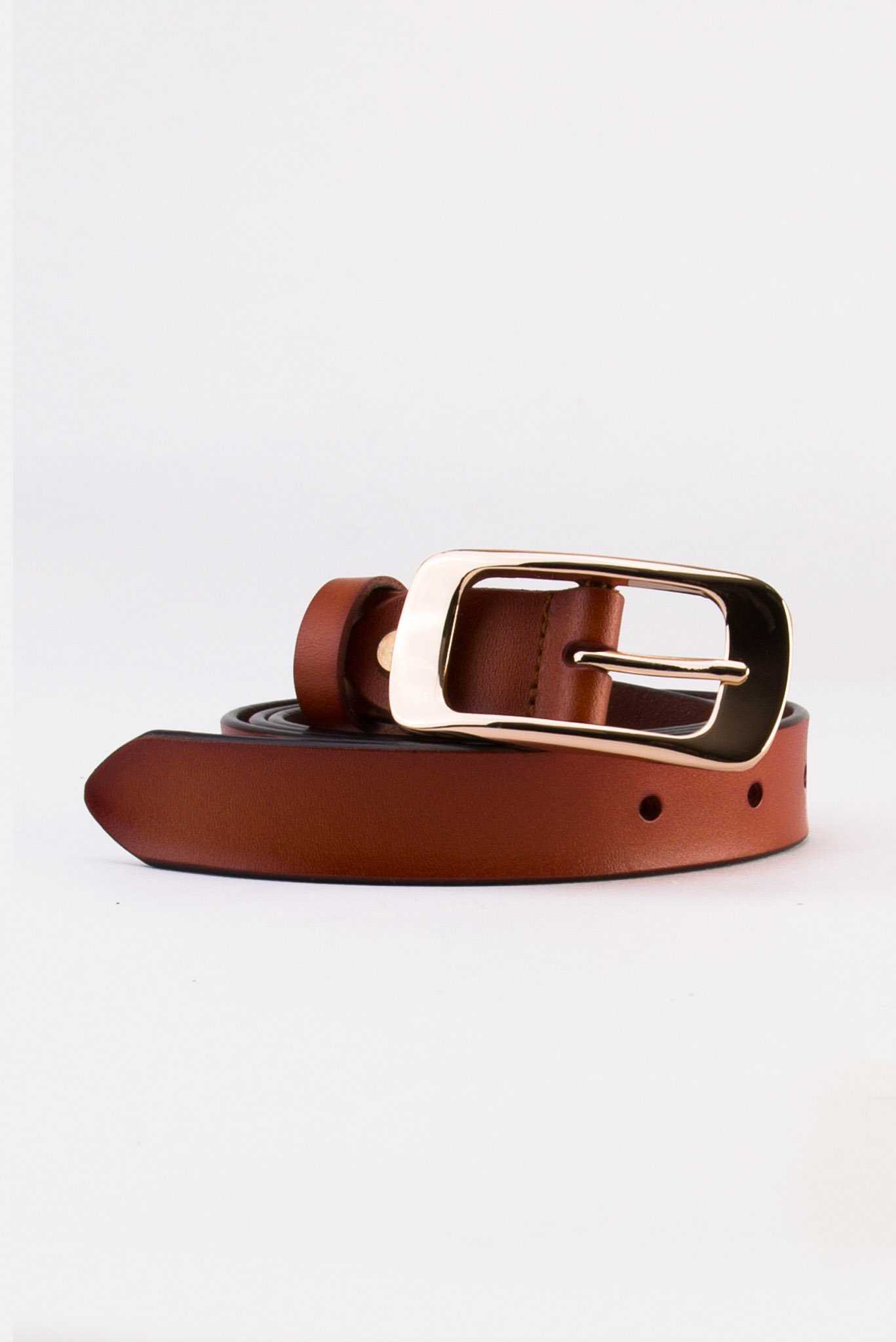 Basic Faux Leather Belt Brown | Raw Orange