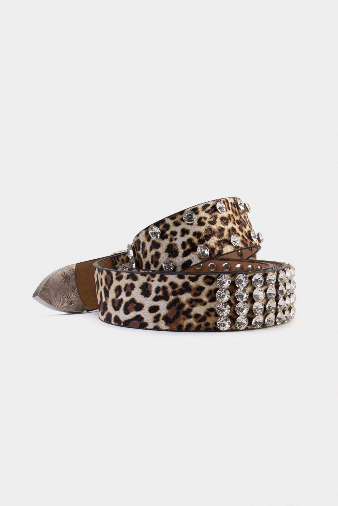 Leopard Studs Belt | Raw Orange