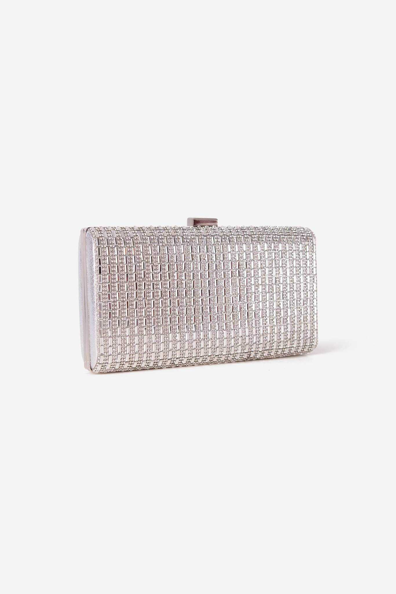 Rhinestone Clutch - Silver | Raw Orange