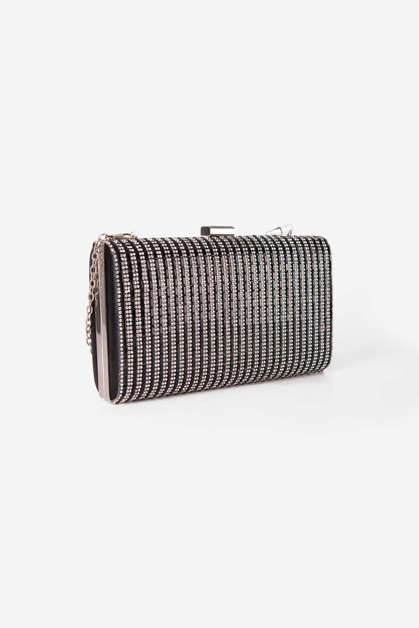 Rhinestone Clutch - Black | Raw Orange